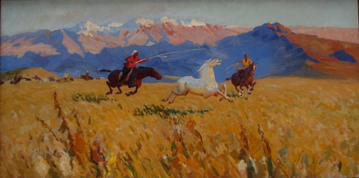 М. Кенбаев Ловля лошади
